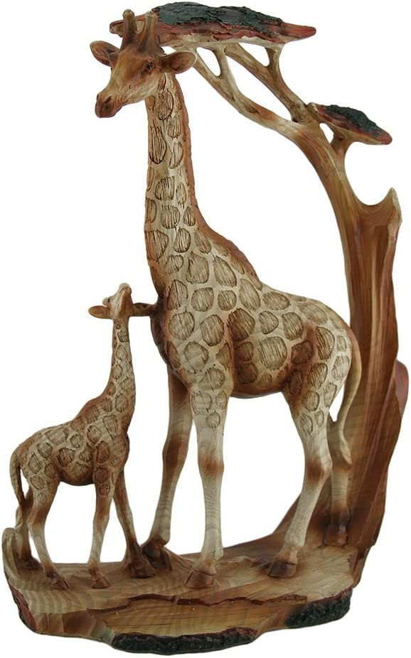 Zeckos Giraffe Family Carved Wood Look Resin Statue