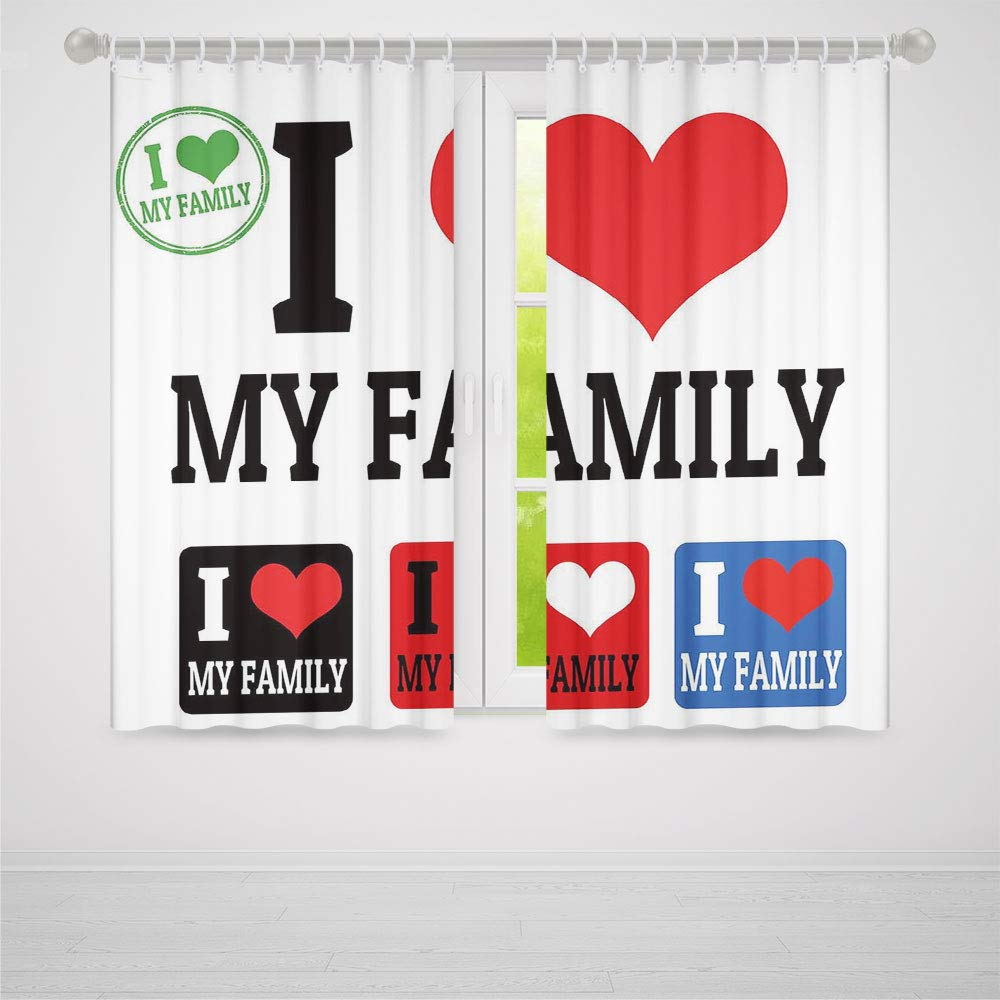 TecBillion Door Curtain,Family for Living Room,Signs and Labels I Love My Family Emblems Stamp Colorful Retro Classic Composition,86Wx70L Inches