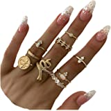 CSIYAN 9-15 Pieces Stackable Knuckle Ring Set,Boho Vintage Crystal Stacking Midi Finger Rings for Women Teen Girls