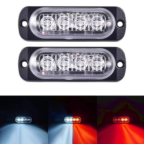 Blue/&Red 16 W Truck Warning Flash Visor Dash Light Bar TOHUU 4 X 4LEDS Car Emergency Strobe Flash Light