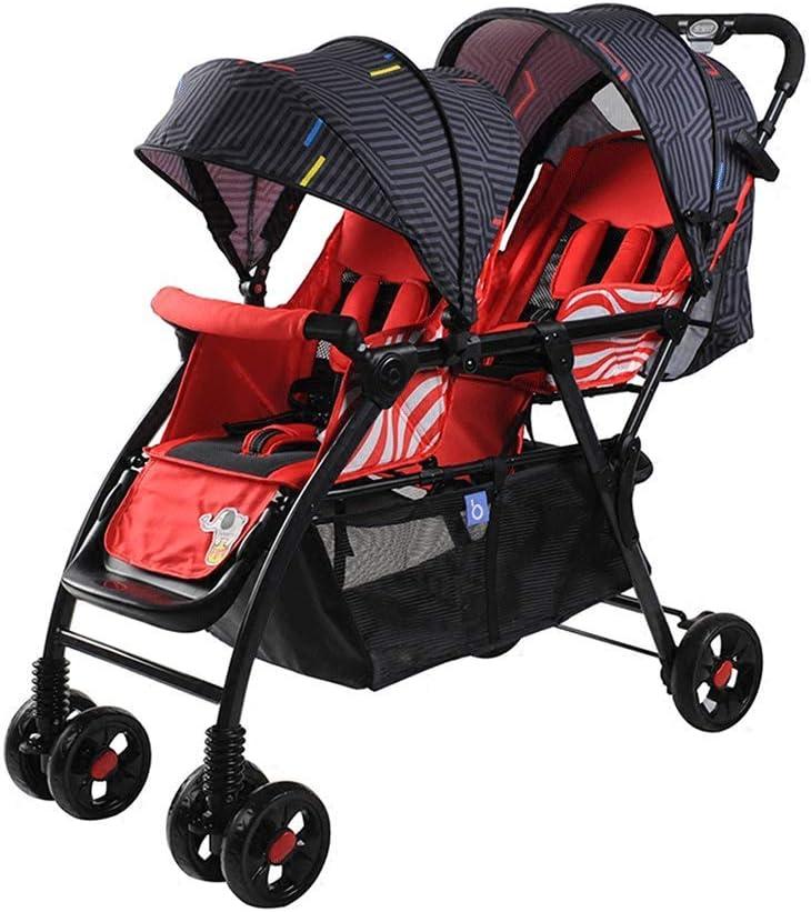GWM ツインベビーカー座席横型ポータブル折りたたみショックアブソーバーベビーカー (色 : Red)