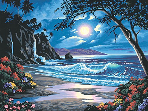 Fipart 5D DIY Diamond Painting Cross Stitch Craft Kit Wall Stickers for Living Room Decoration. Waves(14X18inch/35X45CM)