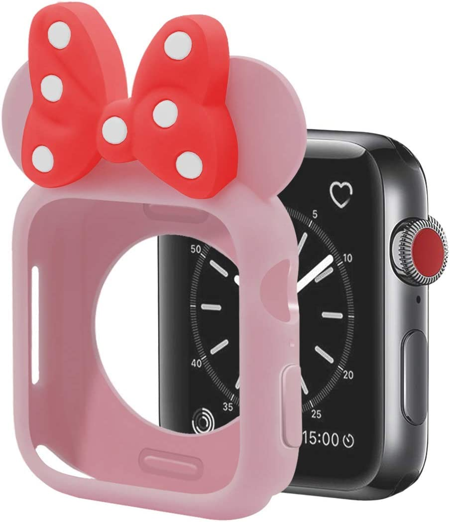 Nenis Cartoon Soft Silicone Protective Frame Anti-Scratch Cover  Case Mouse Ears Compatible with Apple Watch Series 6, Series 5 and Series 4 (Pink - Red, 40mm)
