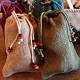 5-LB OF BINESHII WORLD FAMOUS GHOST WILD RICE PACKAGED IN 5 INDIVIDUAL BEADED BURLAP GIFT BAGS - CANOE GATHERED - HAND HARVESTED - CEDAR WOOD PARCHED - INDIVIDUAL 1-LB. PACKAGES - GLUTEN FREE - BATCHES NEVER MIXED (TO ENSURE EVEN COOKING) - ALL FROM THE F