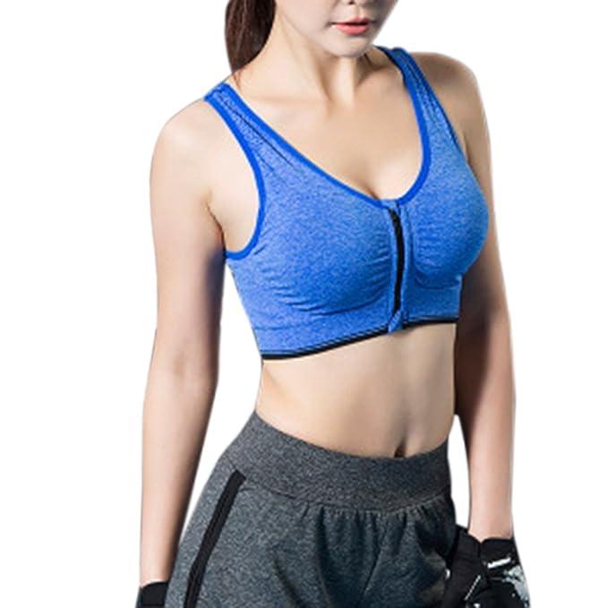 Mengonee Ropa interior deportiva Chica de la cremallera de la yoga Tops sujetador deportivo femenino de
