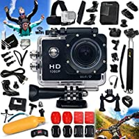 WATERPROOF Digital Camera / Camcorder HD 1080p H.264 KoolCam AC300 w/ Wifi + ULTIMATE Accessories Kit Includes: Head Strap + Adjustable Bike Mount + Helmet Mount + + Long Life Battery + USB Charging Cable + Handheld Extendable MONOPOD Pole + 2 J-hooks + Camera Wrist Mount + Hermetically Sealed Floating Bobber + Remote Control Wrist Mount + External Charger + Adjustable Tripod Mount + 2 Adhesive Curved Stickers / Curved Surface Mounts + 2 Adhesive Flat Stickers / Flat Surface Mounts + Assorted Camera Mounts / Clips + an Extra Hard Waterproof Cover + Screen Protectors + Lens Cap Keeper + Memory Card Wallet Holder + Mini Table Tripod + Deluxe Cleaning Kit + Ultra Fine HeroFiber Cleaning Cloth
