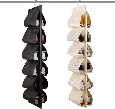 Jiami Home Organizador De Zapatos Para Armario 2 Unidades 12 Pares De Zapateros De Almacenamiento Para Colgar Zapatero De Tela Zapatero Home Kitchen