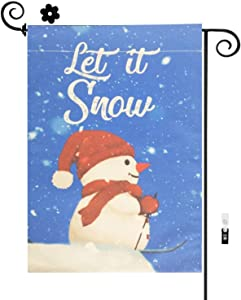 HILUCK Welcome Snowman Home Garden Flag, Let It Snow Cute Little Snowman Decoration, Burlap Vertical Double Sided for Winter Merry Christmas Yard Celebration Banner in Lawn Outdoor 12 x 18 inch