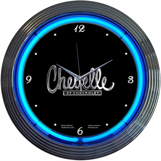 New blue neon Chevelle By Chevrolet car auto game room clock  Free Fast Shipping