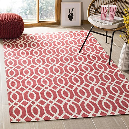 Safavieh Cedar Brook Collection CDR141G Handmade Coral and Ivory Cotton Area Rug (9' x 12')