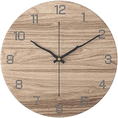 Poxl 30cm Bois Clair Horloge Murale Silencieuse Horloge Murale
