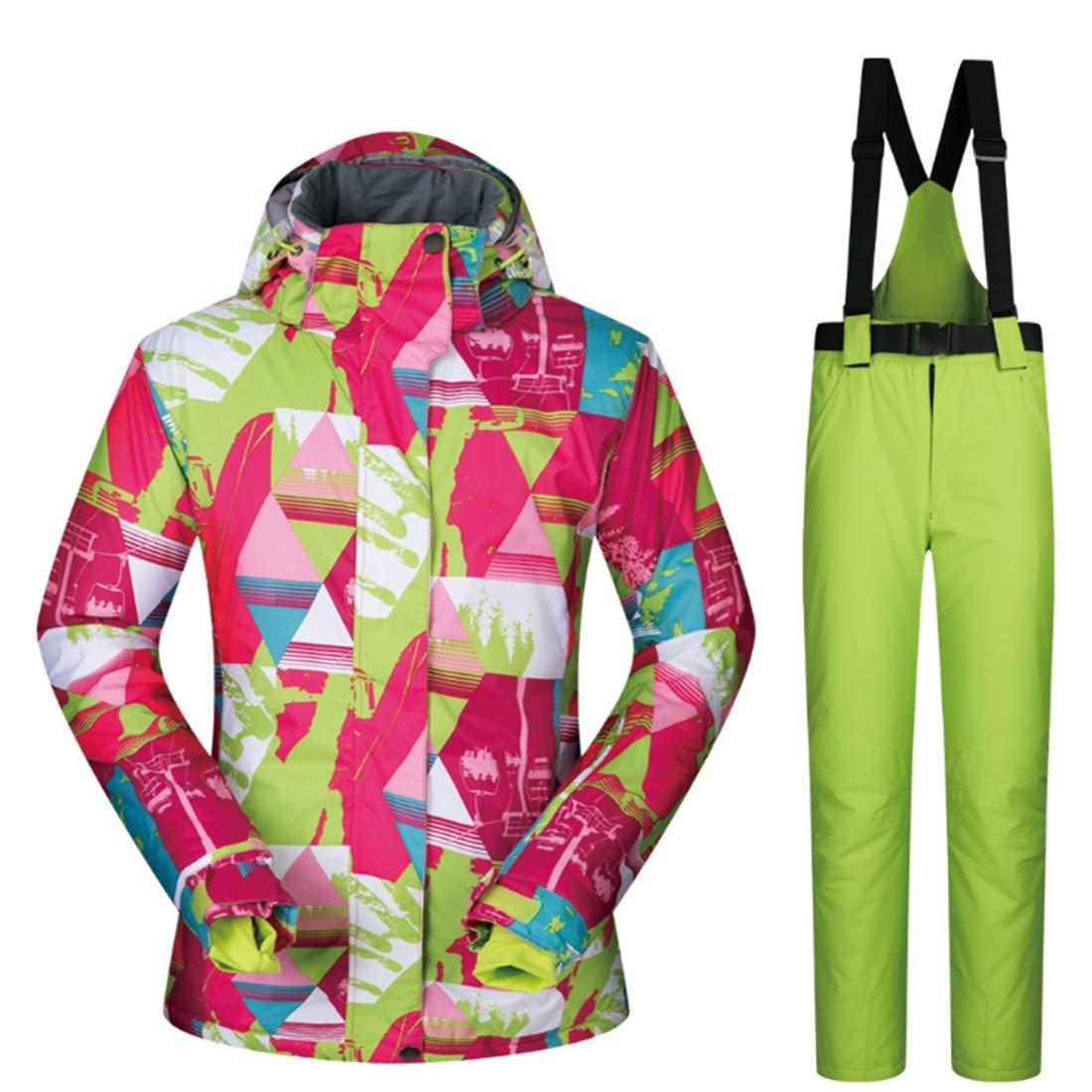 3 XIAMEND Women's Waterproof Ski Jacket Breathable Snowboard Below Zero Coat (color   03, Size   L)