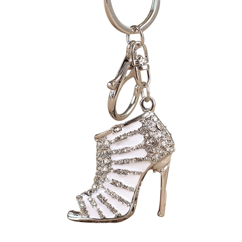 Oldlila Hot Crystal Rhinestone Keyring Keychain Charm Pendant Bag Purse Car Key Chain Handbag Accessories, Purse Pendant, Fashion Item, Car Key Chain, Gift Idea for Woman (White)