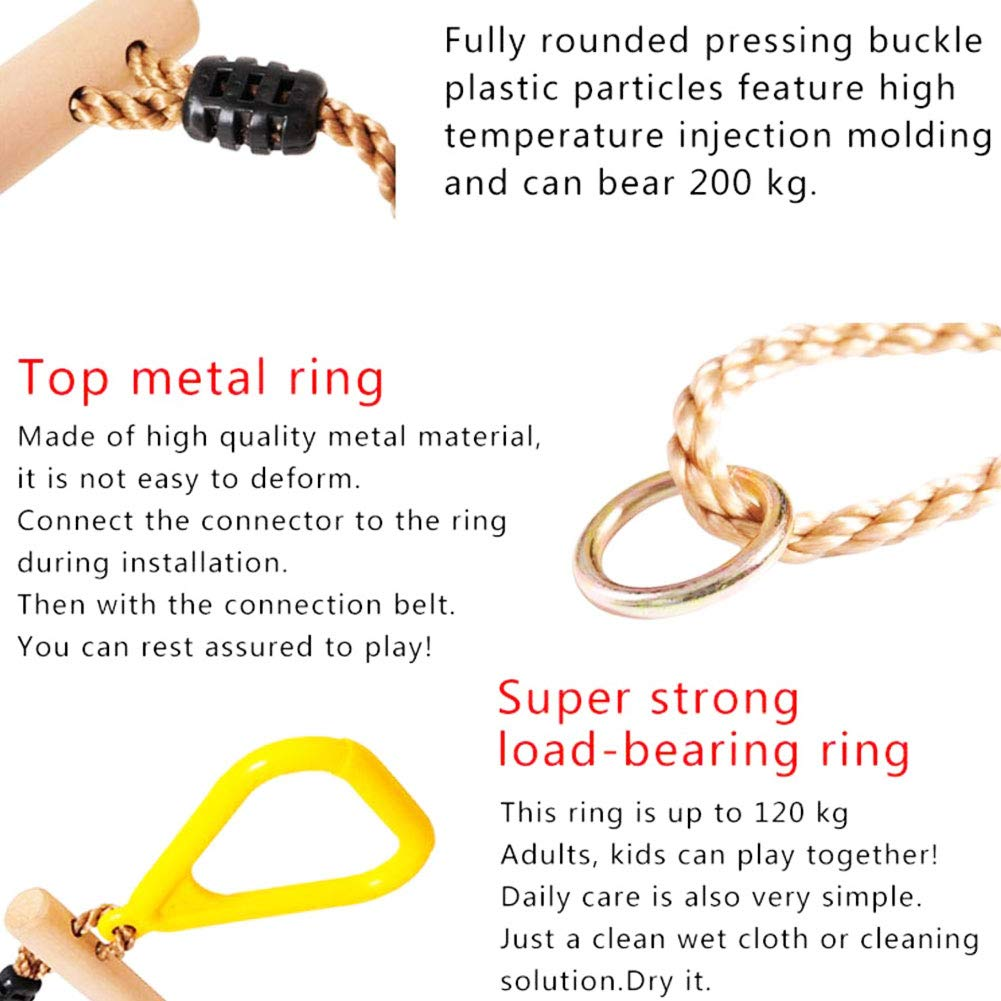 Metal Buckles- Home Gym Great for Workout Non-Slip Strength Training Pull Ups and Dips L-DiscountStore Children Gymnastic Rings with Adjustable Straps Fitness
