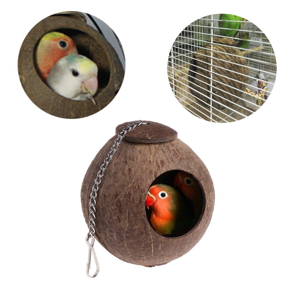 Mentin Noix de Coco Naturelle Nid d'oiseau Jouet de Mangeoire de Cage de Hutte de Maison pour l'animal familier