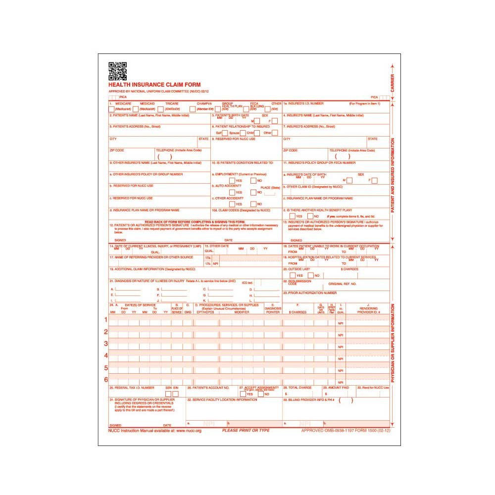 PDC Healthcare IFLC25 1500 Claim Form, No Barcode, Laser, 1 Part, 02/12, White and Red (Pack of 2500)