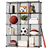 KOUSI Storage Cubes Wire Grid Modular Metal Cubbies Organizer Bookcases and Book Shelves Origami Multifunction Shelving Unit, Capacious & Customizable, Black (12 Cubes)