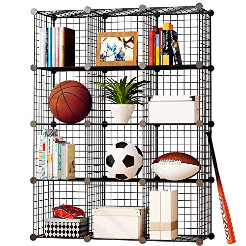 KOUSI Storage Cubes Wire Grid Modular Metal Cubbies Organizer Bookcases and Book Shelves Origami Multifunction Shelving Unit, Capacious Customizable, Black (12 Cubes)