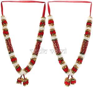 Vedic Vaan Wedding Varmala/Garland for Bride & Groom Set of 2 - Red Flower