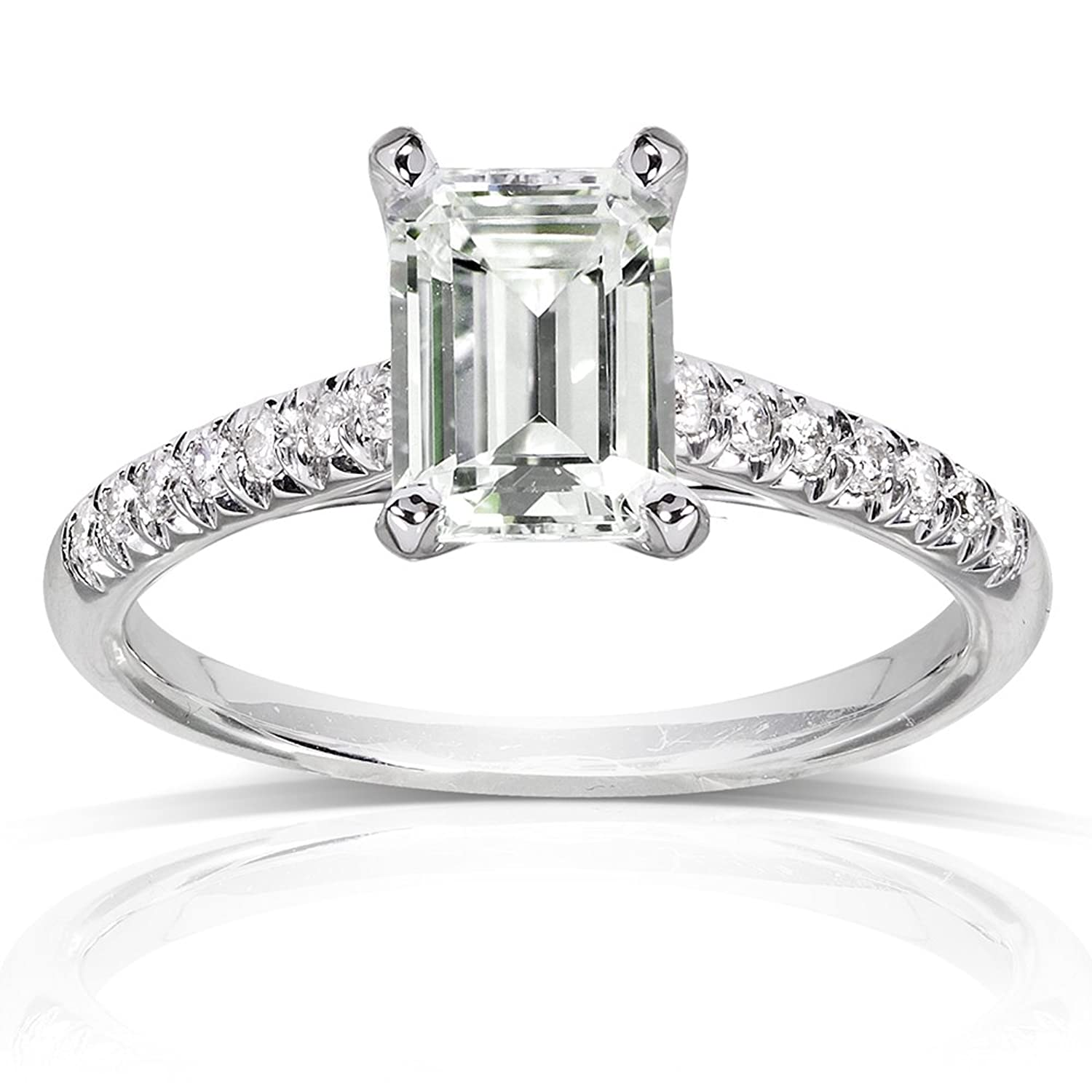 Near Colorless F G Moissanite Engagement Ring with Diamond 1 7 8
