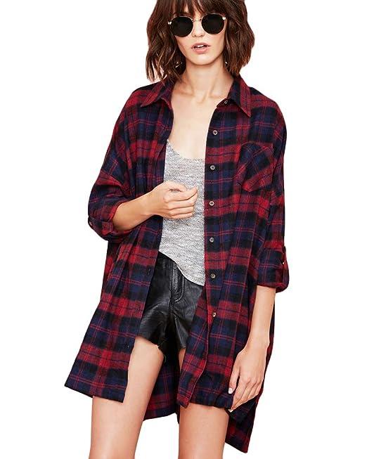 Romacci Mujer Camisa a Cuadros Blusa Algodón de Manga Larga Casual Camisetas Tartan Shirt Tshirt para