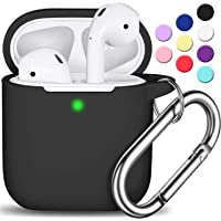AirPods Case Cover with Keychain, Full Protective Silicone AirPods Accessories Skin Cover for Women Girl with Apple AirPods Wireless Charging Case,Front LED Visible-Black