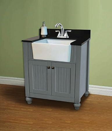 Legion Furniture WLF6022 G 30 quot  Farmhouse Apron Style Single Sink  Bathroom Vanity  Gray. Legion Furniture WLF6022 G 30  Farmhouse Apron Style Single Sink