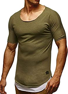 T-Shirt Home T-Shirt Uomo Manica Corta Fitness Scoopneck Casual Slim Fit Top Solido (Color : Khaki, Size : X-Small)