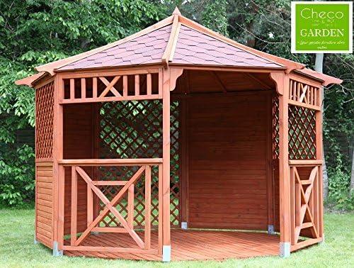 Cenador de madera octogonal para jardín, diámetro de 3,5 m: Amazon.es: Hogar