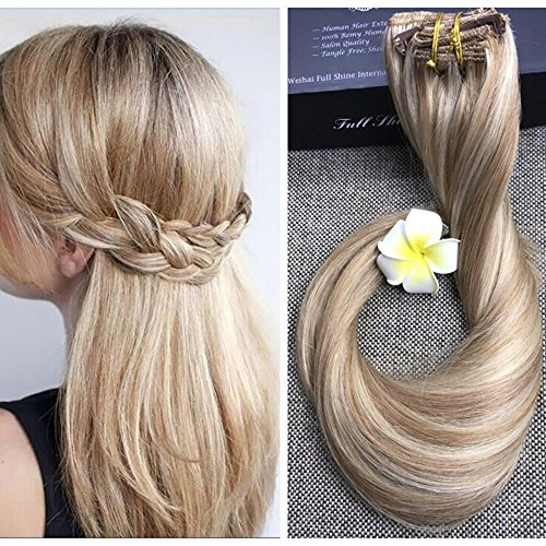 Tape in hair extensions full shine 18inch clip in balayage hair extensions color 10 and color 613 blonde pmusecretfo Images