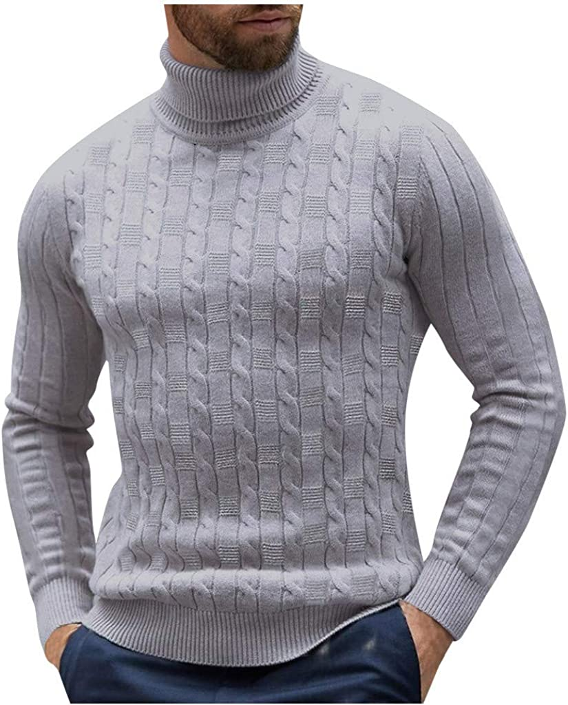 AIEason Mens Slim Fit Turtleneck Sweater Thermal Knitted Pullover Sweater Long Sleeve Slim Fit Basic Tops