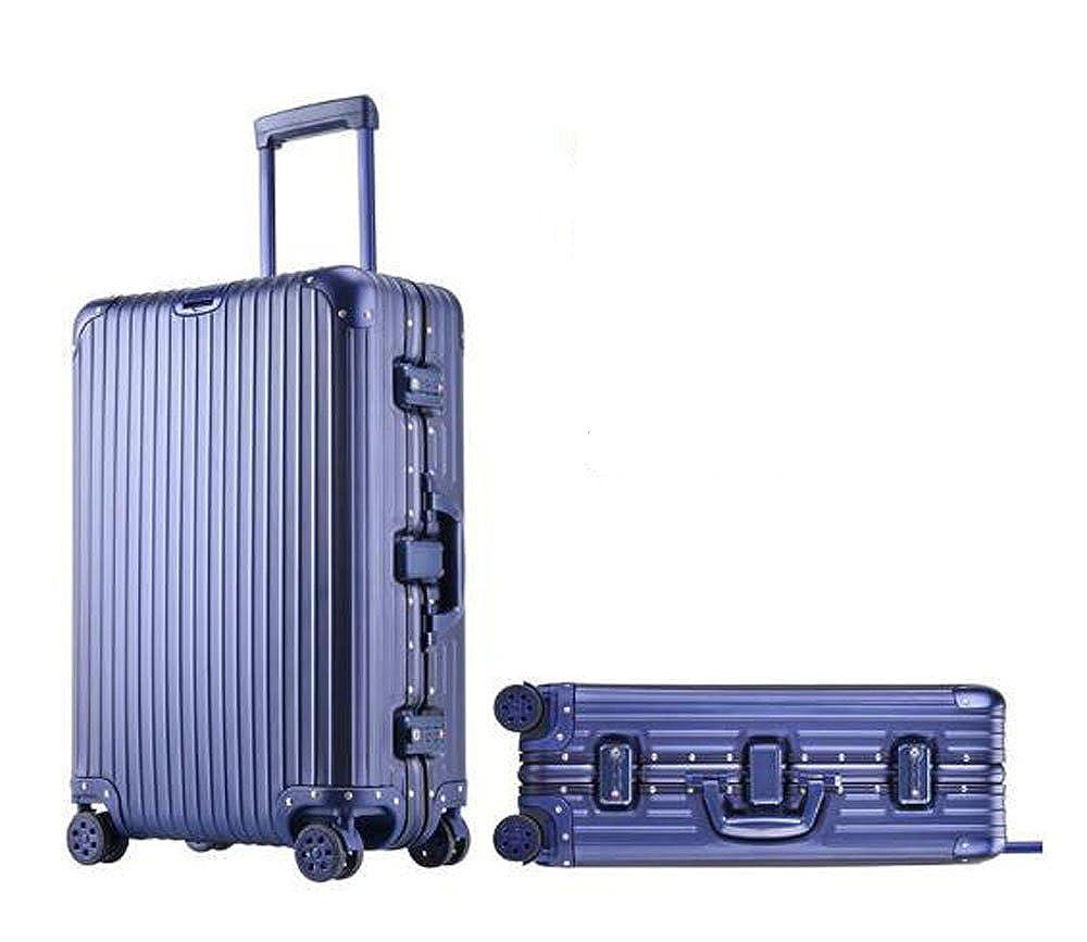 スーツケース アルミ製 キャリーケース 旅行トランク 旅行必須品ブラック/シルバー/ブルー/チタンゴールド  21インチ/25インチ/29イン チ cas-022 B0756WQRTB 29インチ|ブルー ブルー 29インチ