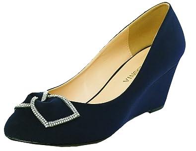 3b24b12030f Lasonia Wedge Heels Dress Formal Bow Shoes Navy Blue M7754 (5)