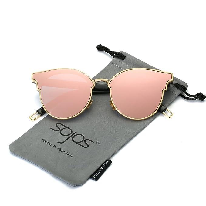 SOJOS Gafas De Sol Unisex Modernas Retra Forma Pantos Lentes Redondas Espejo SJ1055 Con Marco Grueso Dorado/Lente Espejo Rosado