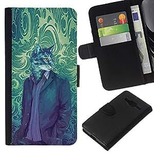 KLONGSHOP // Tirón de la caja Cartera de cuero con ranuras para tarjetas - Gato Traje Retrato de arte de época Wallpaper - Samsung Galaxy Core Prime //