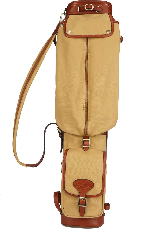 TOURBON Bolsa de viaje para palos de golf de lona y cuero, ligera, estilo vintage, suave, para entrenamiento
