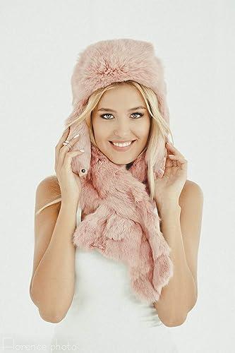 7641c4d416fc0 Amazon.com  Woman s Real Pink Rabbit Fur Hat Fancy Winter Hat ...