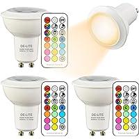 DE-LITE 3W GU10 Spot LED Ampoule , Changement de Couleur et de Télécommande, RGB +Couleur Chaude(2700K), Lampe Led Anglede Faisceau 45°,Double Mémoire et Timing(Lot de 4)