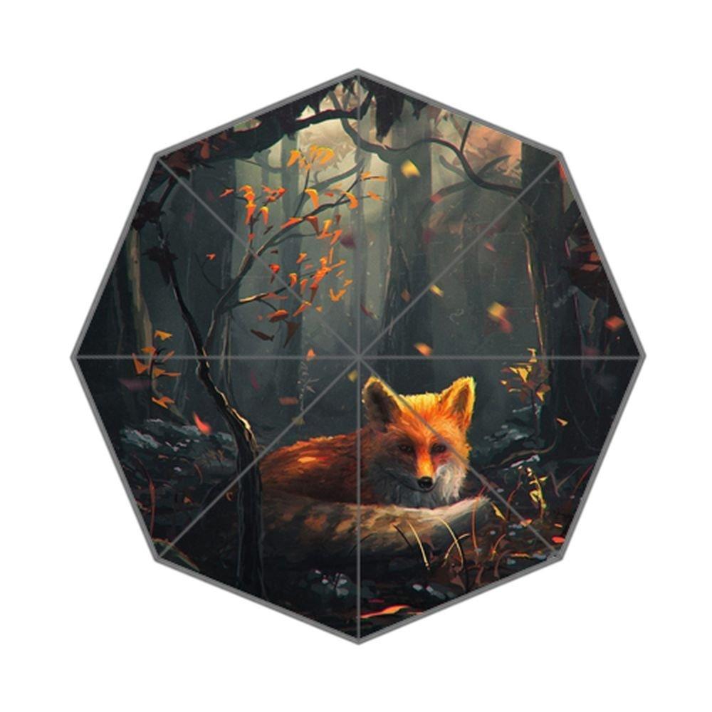 All Weather Umbrella Fox Deep Sleep In Forest Art Custom Rain Foldable Umbrella B075Q3XQWY