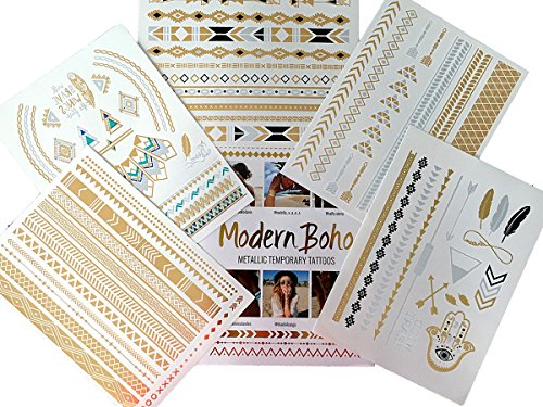 Modern Boho 5 Sheets Metallic Tattoos Flash, Gold/Silver, Aztec Collection