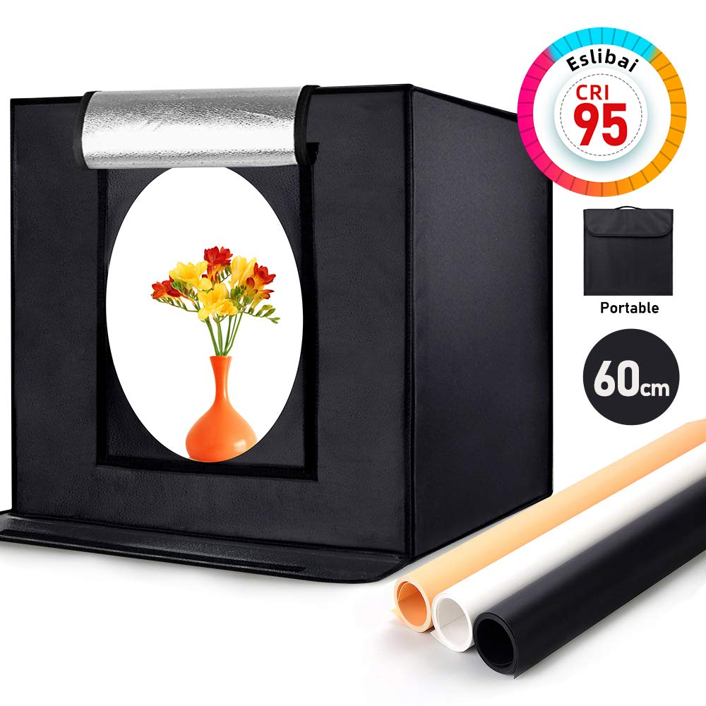 Eslibai Photo Box, Photo Light Box 24x24x24 Inches/60x60x60cm Professional Light Box 126 LED Light Photo Studio Shooting Tent with 3 Background Papers for Product Photography by Eslibai
