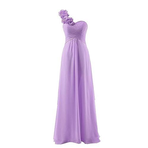 HONGFUYU Womens One Shoulder Bridesmaid Chiffon Prom Dress Long Evening Dresses