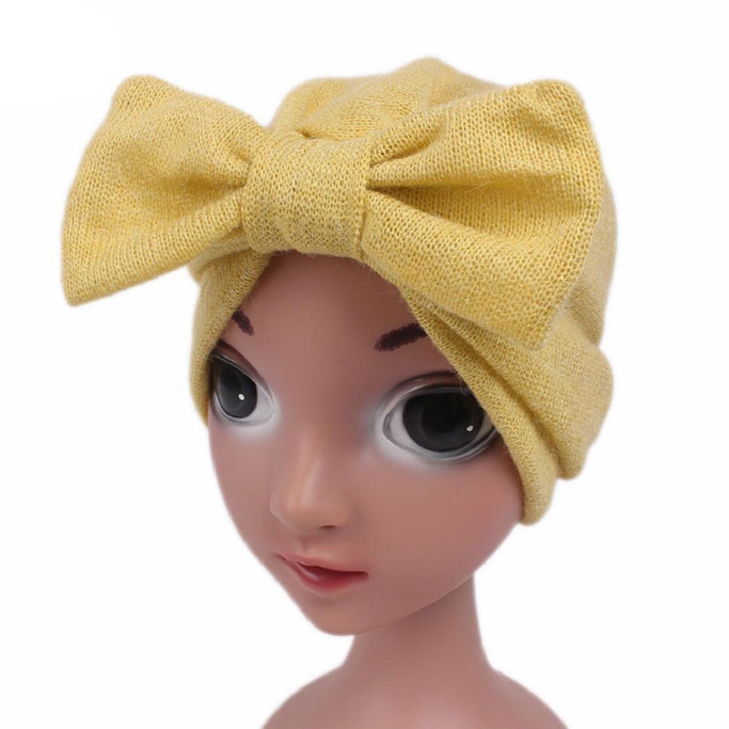 ShenPr Children Baby Girls Butterfly Boho Hat Beanie Scarf Turban Head Wrap Cap (Yellow)