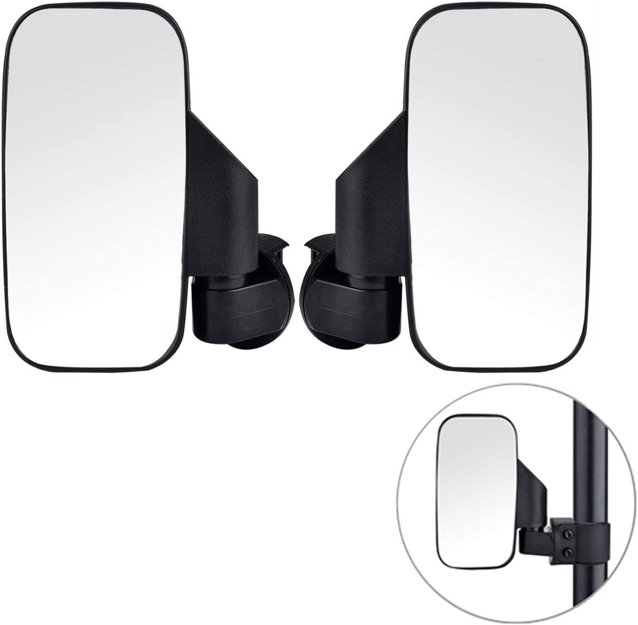 2020 Upgraded UTV Side View Mirrors, Adjustable Wide Rear Clear View with Shatter-Proof Tempered Glass, Moveland UTV Off Road Accessories for Polaris RZR, Can-Am, Kawasaki, kubota, Yamaha, Maverick-2