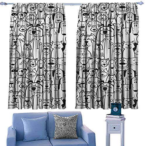 ParadiseDecor Doodle Drapery Collection of Dogs and Cats Cute Animals Fun Happy Beings Cartoon Inspired Design,Picture Print Decor Curtains,W63 x L72 Inch