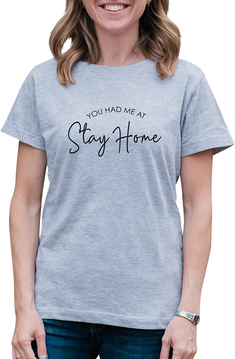 7 ate 9 Apparel Women's You Had Me at Stay Home Quarantine Grey T-Shirt