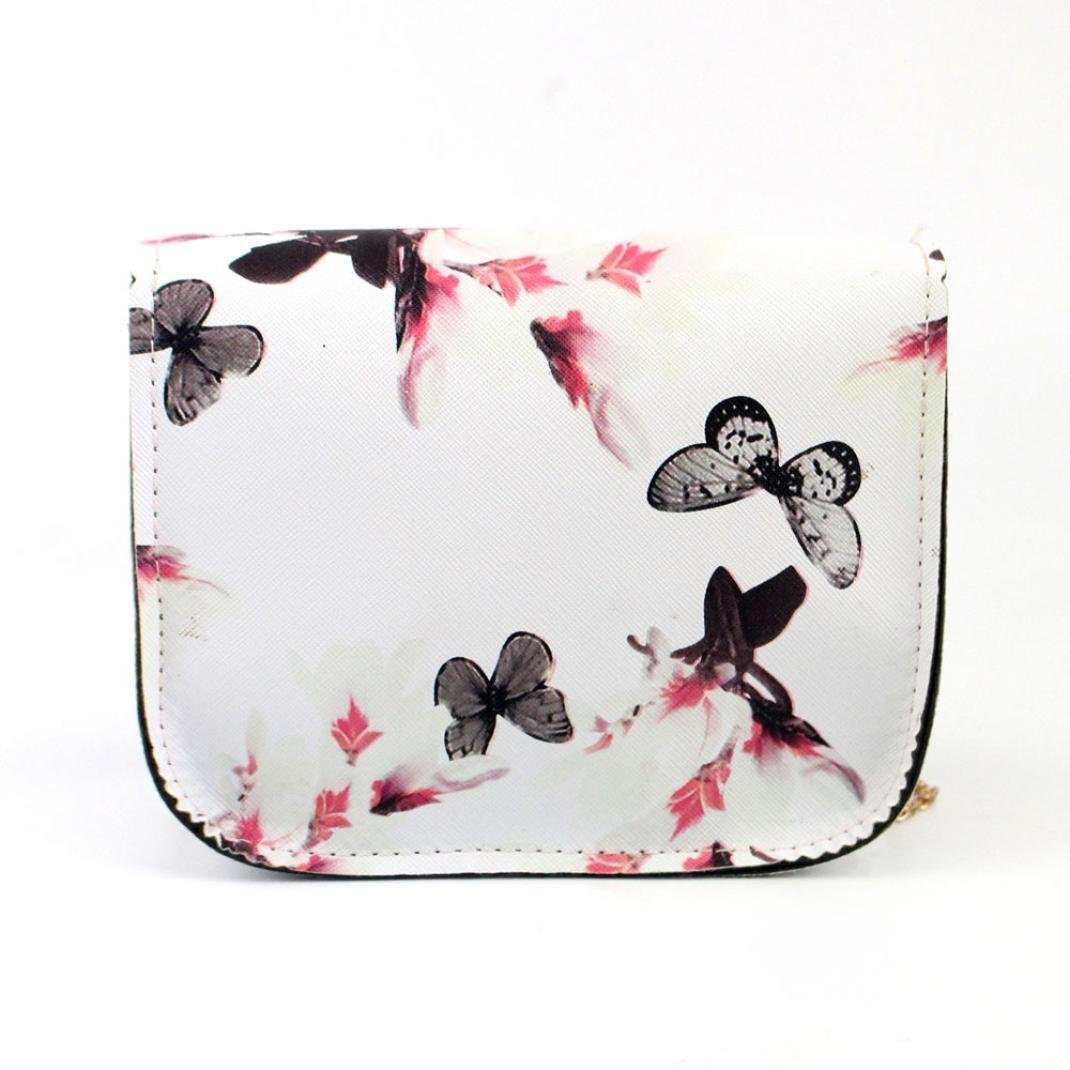 Outsta Butterfly Flower Printing Handbag,Women Shoulder Bag Tote Messenger Bag Phone Bag Coin Bag Travel Backpack Bucket Bag Classic Basic Casual Daypack Travel (White) by Outsta (Image #2)