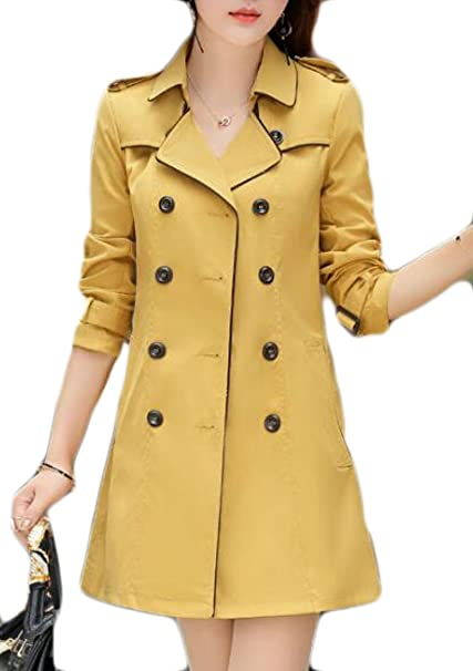 e274686a73 YUELANDE-Women Long Sleeve Attractive Double-Breasted Trench Coats Four US S