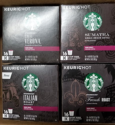 Starbucks Dark Roast Variety Pack 128Ct K-Cup Pods(French Roast- Italian Roast- Caffè Verona-Sumatra ) by Starbucks