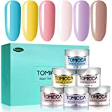 TOMICCA Dipping Powder Rainbow Color Set of 6 Nail Acrylic powder 0.5oz Bottle Dip Powder